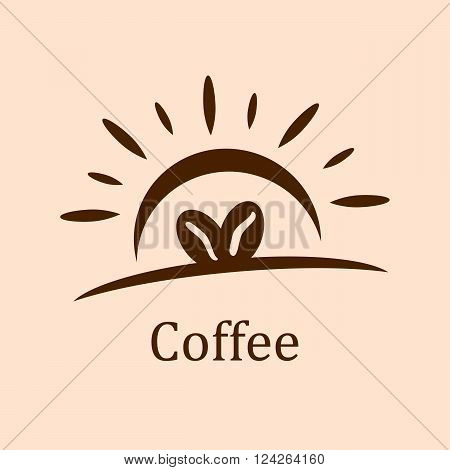 Coffee beans with sun shine. 10 eps vector illustration