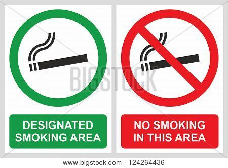 No smoking and smoking area labels, location where smoking is allowed or not allowed