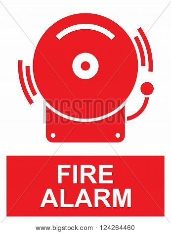 Fire alarm sign, informative sign for location of fire alarm