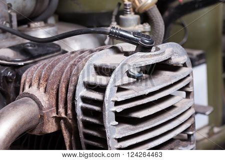 old vintage motorcycle engine close up fragment