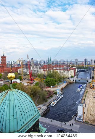 Panoramic view from the Dome of Berlin Cathedral to Spree River Red City Hall St Nicholas Church and Old City Hall. It is in Berlin in Germany