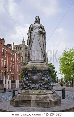 Queen Victoria monument near College Green in Bristol in South West England. Victoria was Queen of the Great Britain and Ireland from 19th century till 20th century.
