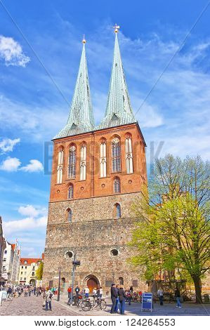 Berlin, Germany - April 29, 2013: St Nicholas Church in Berlin in Germany. Nikolaikirche is the oldest church of Berlin. It is placed in the Mitte borough.