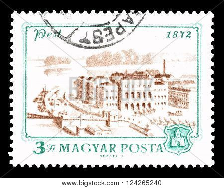 HUNGARY - CIRCA 1972 : Cancelled postage stamp printed by Hungary, that shows Pest in 1872.