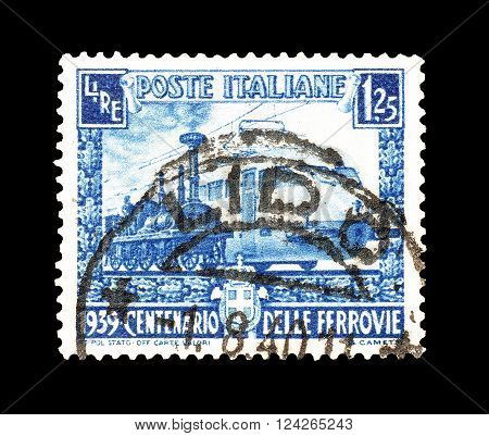 ITALY - CIRCA 1939 : Cancelled postage stamp printed by Italy, that shows Italian railway.