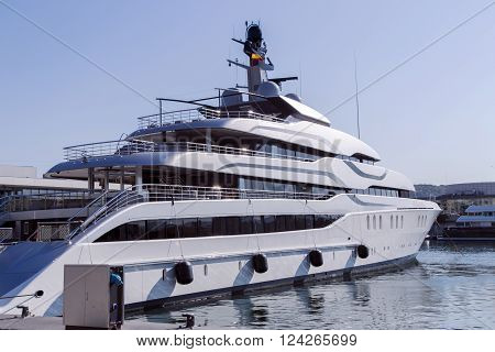 View of luxury yacht at Port in Barcelona, Catalonia. Located east of the Port of Barcelona, it hosted the sailing events for the 1992 Summer Olympics.