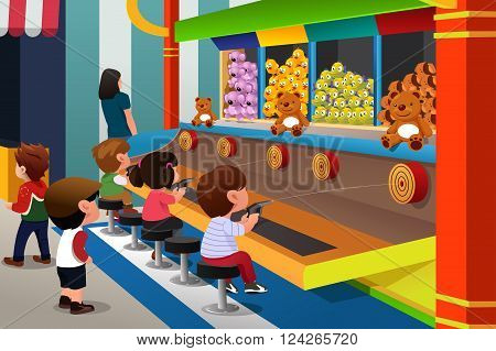 A vector illustration of happy kids playing in carnival games