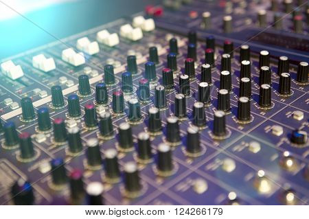 Professional Mixing Console For Audio Recording.