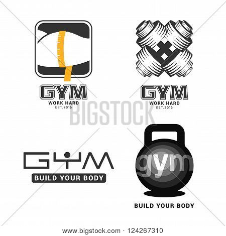 Set of gym logo in vector. Fitness concept