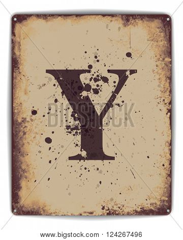 Retro tin plate style poster with capital letter Y monogram. EPS10 vector format