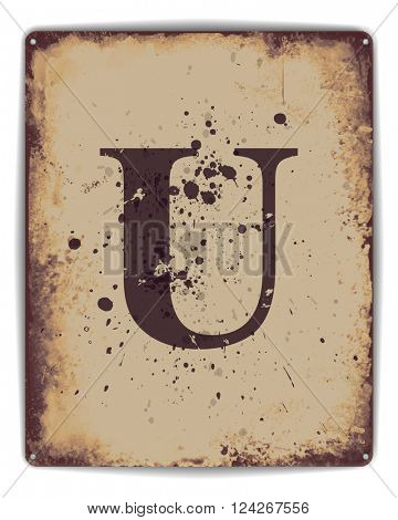 Retro tin plate style poster with capital letter U monogram. EPS10 vector format
