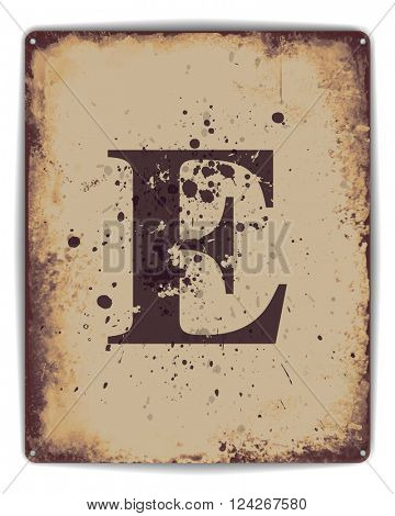 Retro tin plate style poster with capital letter E monogram. EPS10 vector format