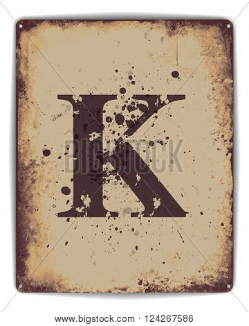 Retro tin plate style poster with capital letter K monogram. EPS10 vector format