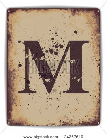 Retro tin plate style poster with capital letter M monogram. EPS10 vector format