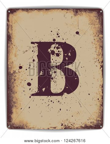 Retro tin plate style poster with capital letter B monogram. EPS10 vector format