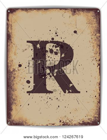 Retro tin plate style poster with capital letter R monogram. EPS10 vector format