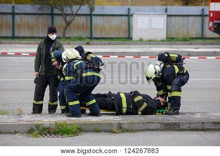 CZECH REPUBLIC, PLZEN, 30 SEPTEMBER, 2015:Rescue team of firefighters