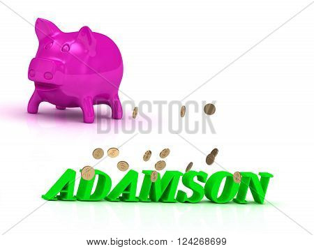 ADAMSON bright of green letters and rose Piggy on white background