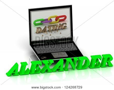 3D illustration ALEXANDER- Name and Family bright letters near Notebook and inscription Dating on a white background