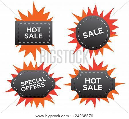 Vector fire labels set. Price and sale deal and offer special tag or badge