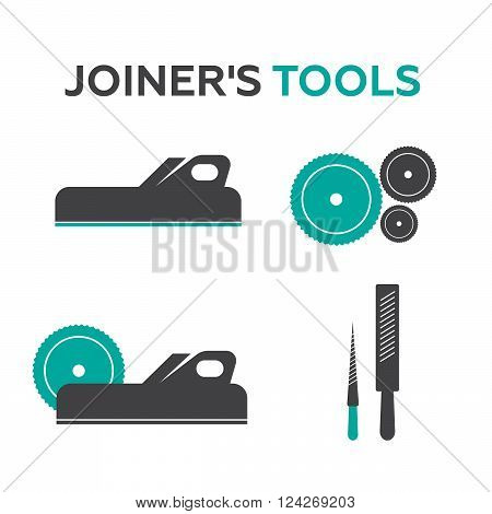 A set of logos emblems of joiner's tools