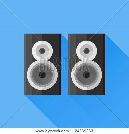 Black speakers flat icon with long shadow on blue background