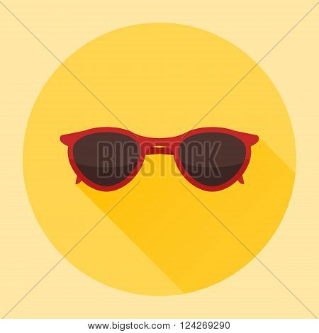 Red sun glasses flat icon with long shadow