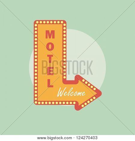 Motel vintage icon. Motel retro style. Motel concept in flat style. Motel logo