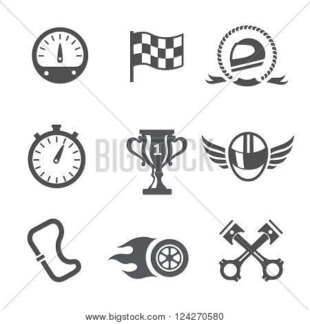 Race icons set Speedometer, helmet and cup, winning finish, flag and speed competition,  vector