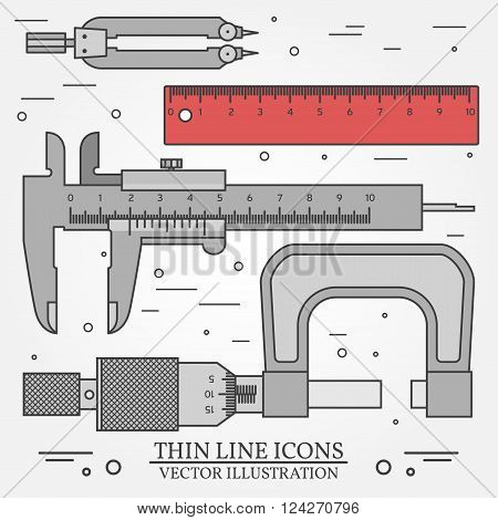 Set vector thin line icons caliper ruler pair of compass and micrometer. For web design and application interface also useful for infographics. Vector dark grey. Vector illustration.