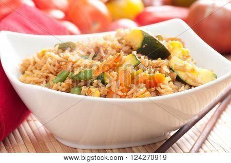 stir fry vegetarian vegetables with brown rice and asian sauces