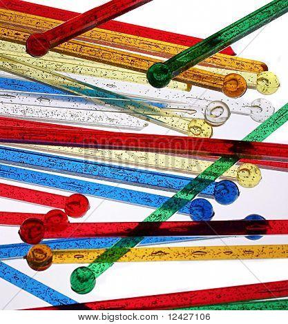 Closeup of swizzle sticks