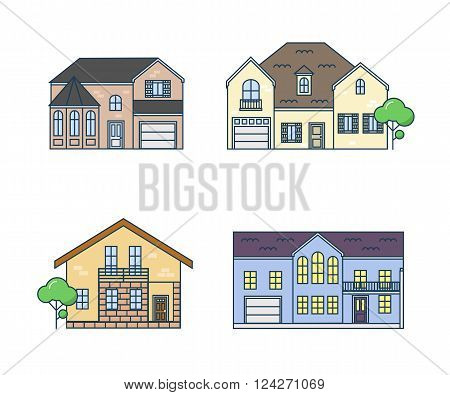 Flat line architecture design. Set linear house. Stroke color icon set of buildings. The linear set of the country real estate. Isolated outline trendy houses in the flat style.