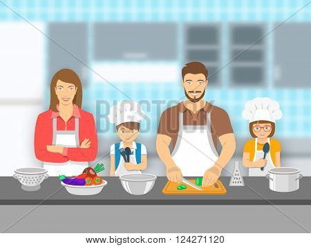 Mother father and kids cooking together at a kitchen. Dad cuts vegetables for salad happy little son and daughter help him. Family domestic pastime background. Vector flat illustration