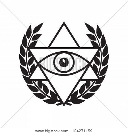 All seeing eye in delta triangle. 10 eps vector illustration