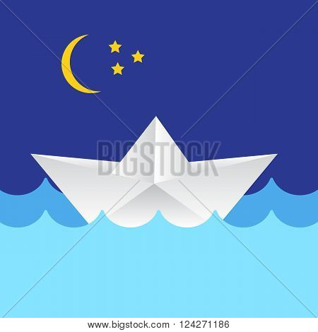 Origami paper ship on ocean waves. Travel transport toy cruise and vessel