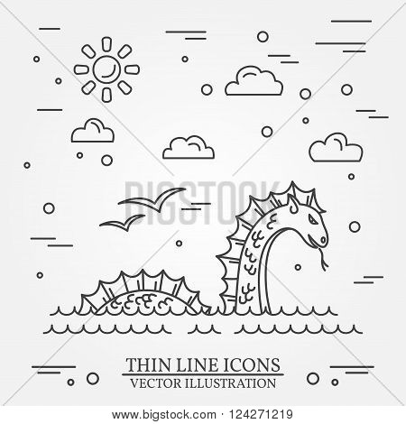 Loch Ness Monster Logo. Thin Line Icon For  Web Design And Appli