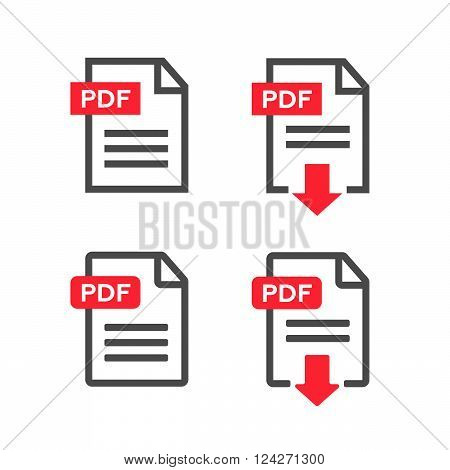 PDF file download icon. Document text symbol web format information