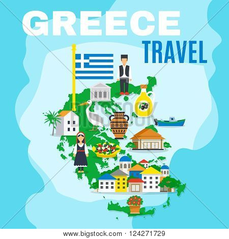 Greek poster with mainland map and main attractions sightseeing and peculiarities of the country vector illustration