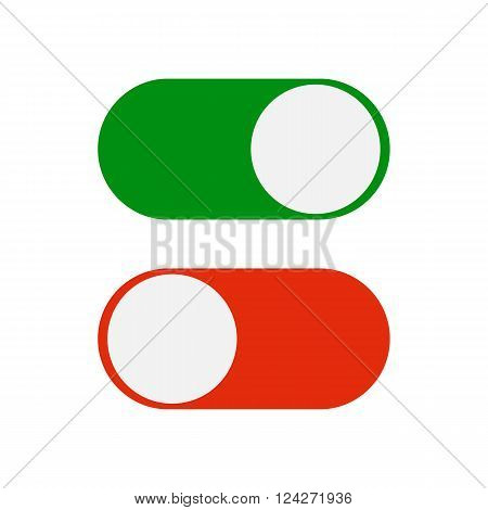 Toggle switch icon, green in on position, red in off, vector illustration in flat design.