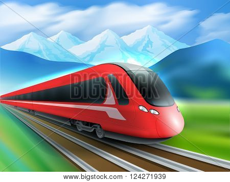 Red streamlined high-speed day train with mountain range background realistic image ad poster print vector illustration