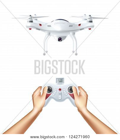 Unmanned drone with remote radio controller in human hands realistic concept vector illustration