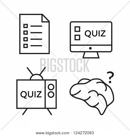 Quiz icon set. Question and answer questionnaire and information