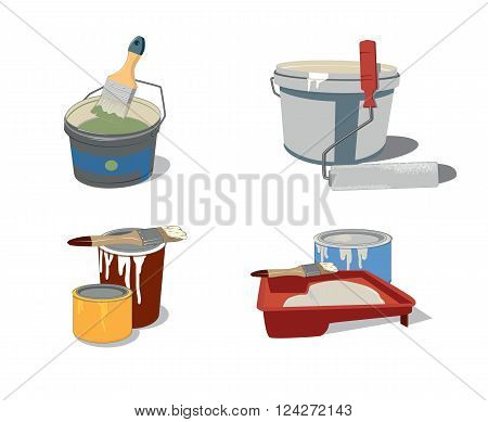 set of tools for painting vector illustration
