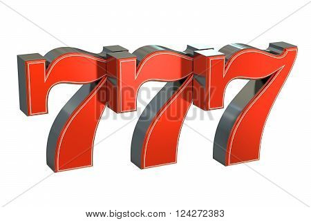 777 Lucky jackpot symbol 3D rendering on white
