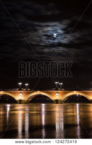 Pont de Pierre in Bordeaux in the night, Aquitaine, France