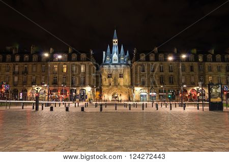 BORDEAUX FRANCE - MAY 06 2015: Porte Cailhau is a medieval gate of the old city walls in historical center of Bordeaux France