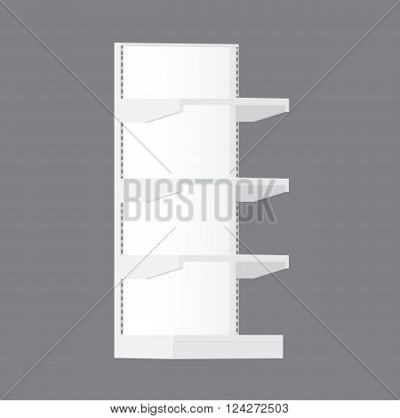 White Long Blank Empty Showcase Displays With Retail Shelves Products On White Background Isolated. Ready For Your Design. Product Packing