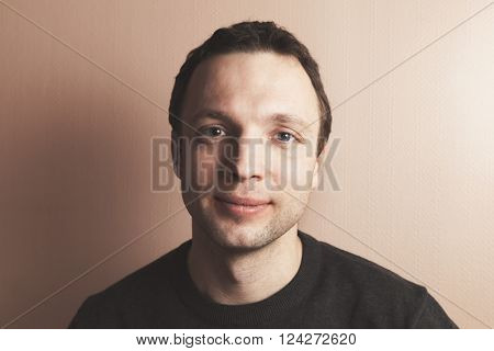Young Handsome Positive Caucasian Man Portrait