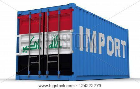 Iraq import. Freight container on a white surface with inscription